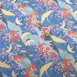 Tissu japonais : Grue et les fleurs de pruniers GR8