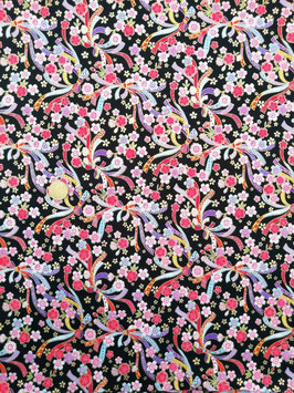 Tissu japonais : Fleurs avec ruban F25