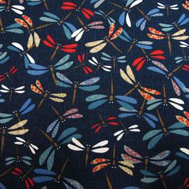 Tissu japonais : Libellule en multicolore - AG11