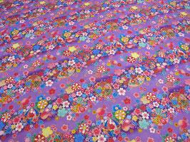 Tissu japonais : Papillon et fleurs F4 Violet