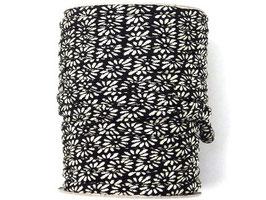 CORDON JAPONAIS 5mm : Noir - Blanc en fleur de Marguerite P4