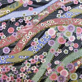 Tissu japonais gaufré : Les fleurs sur la belle rivière GAU 7