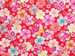 Tissu japonais gaufré : Sakura Kawaii GAU4-3 Rouge Orangé