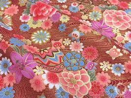 Tissus japonais : Ballons et les fleurs colories sur RYUSUI ( Réf F12 )