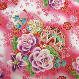 Tissu japonais : Fleurs Roses - F9-2 Rose