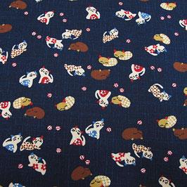 "Tissu japonais : Chats "" NEKO "" en petits motifs - AG5"