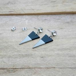Boucles d'oreilles en bois du Québec et acier inoxydable, avec pierre du rhin 6mm