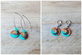 Boucles d'oreilles lune et rondelles de bois