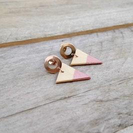 """Boucles d'oreilles triangles 3/4"""" sur """"studs"""" or rose en acier inoxydable"""