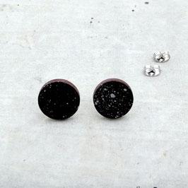 Puces d'oreilles rondes en merisier, noir et argent motif abstrait
