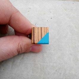 Bague carré ajustable en bois africain, Zébrano, choix de jonc en étain ou inox