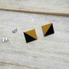 Puces d'oreilles carrés noir et argent ou noir et or!