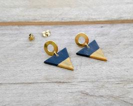 """Boucles d'oreilles triangles 3/4"""" sur """"studs"""" or rondelles en acier inoxydable"""