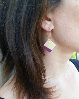 """Boucles d'oreilles losanges 3/4"""" sur anneaux créoles"""