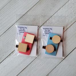 Kit DIY de barrettes (2) à peindre pour enfants - emballage au choix