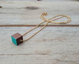 Collier minimaliste Cube de bois brun - Chaîne argent