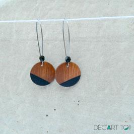 Boucles d'oreilles en bois, rondes sur crochets en inox