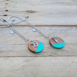 """Duo """"Best friends"""" : 2 Colliers personnalisés avec initiale (20 couleurs au choix!) - Chaîne argent"""