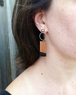 Boucles d'oreilles rectangles avec anneaux en inox