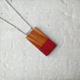 Pendentif minimaliste rectangle en bois exotique (Arariba), corde ou chaîne à votre choix
