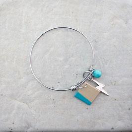 Bracelet en inox avec breloque losange en bois