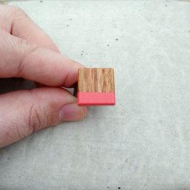 Bague carré ajustable en bois exotique, Arariba, choix de jonc en étain ou inox