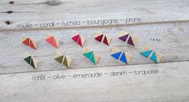 Puces d'oreilles carrés en merisier, couleurs à votre choix!