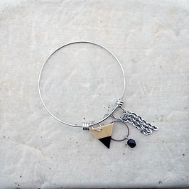 Bracelet en inox avec breloque triangle en bois, couleur au choix!