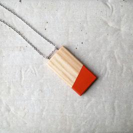Pendentif minimaliste rectangle en bois canadien (frêne), corde ou chaîne à votre choix