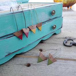 """Boucles d'oreilles pendantes  triangles 3/4"""" sur longs crochets"""