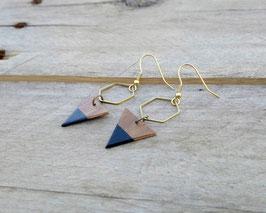 """Boucles d'oreilles pendantes triangles 3/4"""" et hexagones de laiton doré"""