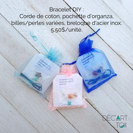 Kit DIY de bracelet à assembler pour enfants - verre/pierre et acier inoxydable (à l'unité)