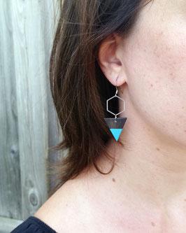 """Boucles d'oreilles pendantes triangles 3/4"""" et hexagones d'acier inox"""