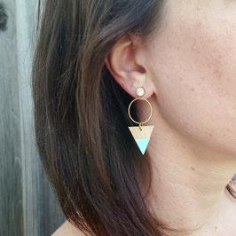 Boucles d'oreilles en bois, laiton et acier inoxydable, avec pierre du rhin 6mm