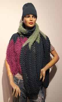 Breites Stricktuch, smaragd oder Schal