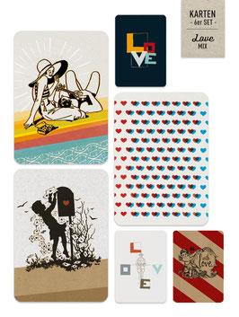 Karten-Set ›LOVE-Mix‹ mit 6 Karten und 6 Motiven