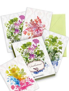 Grußkartenset / 4 Motive ›Shakespeares Gärten‹