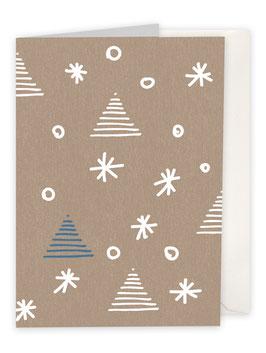Sterne mit Weihnachtsbaum / braun