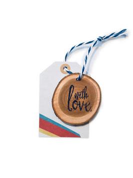 Anhänger ›WITH LOVE‹ Farbstreifen, Holz/Papier-Anhänger
