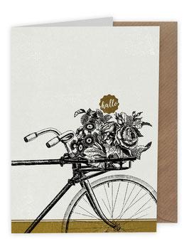 ›Hallo‹ / Fahrrad mit Blumen