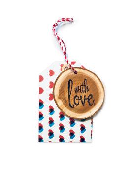 Anhänger ›WITH LOVE‹ Herzen, Holz/Papier-Anhänger