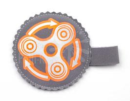 Handspinner Tasche (Silber/ Neon Orange) aus Softshell mit Wunschname