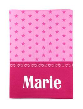 """Untersuchungshefthülle """"Sterne - Pink"""" mit Wunschname"""