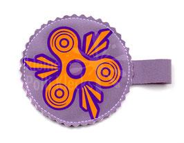 Handspinner Tasche (Neon Orange/ Lila) aus Softshell Flieder mit Wunschname