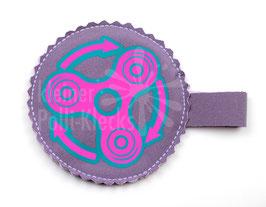 Handspinner Tasche (Neon Pink/ Türkis) aus Softshell Flieder mit Wunschname