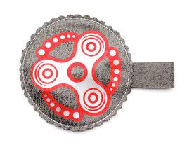 Handspinner Tasche (Silber/ Rot) aus Kunstleder Grau mit Wunschname