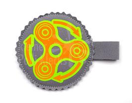 Handspinner Tasche (Neon Orange/ Grün) aus Softshell Grau mit Wunschname