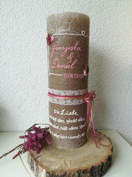Traukerze, Hochzeitskerze vintage, rustikal 30x10cm, Verzierungen aus Wachs