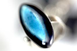 Bague Ovale Turquoise et Noir, Bijou Artisanal Céramique