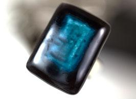 Bague rectangle Turquoise et Noir, Bijou Artisanal Céramique